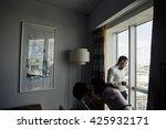 the makeup artist does makeup... | Shutterstock . vector #425932171