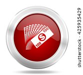 money icon  red round metallic... | Shutterstock . vector #425935429