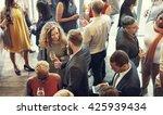 business people meeting eating... | Shutterstock . vector #425939434