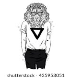 leo t shirt with a print and... | Shutterstock .eps vector #425953051