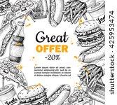 vector vintage fast food... | Shutterstock .eps vector #425953474