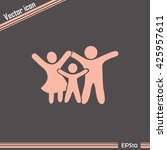 happy family icon in simple... | Shutterstock .eps vector #425957611