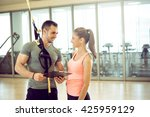 personal trainer showing result ... | Shutterstock . vector #425959129