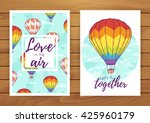 rainbow hot air balloon... | Shutterstock .eps vector #425960179