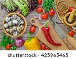 preparation of salad  on wooden ... | Shutterstock . vector #425965465