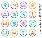 travel flat contour icons on... | Shutterstock .eps vector #425970835