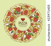 background with pizza. hand... | Shutterstock .eps vector #425971405