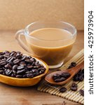 coffee with coffee beans on... | Shutterstock . vector #425973904