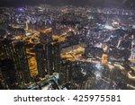 hong kong skyline at night may... | Shutterstock . vector #425975581