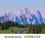 vector low poly landscape 3d... | Shutterstock .eps vector #425981329