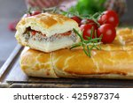 homemade pie with meat ... | Shutterstock . vector #425987374