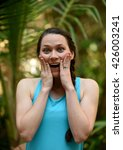 woman with hands on her face... | Shutterstock . vector #426003241