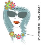 beautiful line art hippie... | Shutterstock . vector #426010654