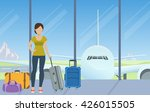 tourist with luggage waiting...   Shutterstock .eps vector #426015505