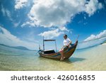 a young tourist on boat in diep ... | Shutterstock . vector #426016855