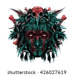 portrait of  indian shaman head ... | Shutterstock . vector #426027619
