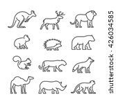 cool line icons wild animals.... | Shutterstock . vector #426034585