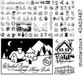 christmas set of black sketch.... | Shutterstock .eps vector #42603487