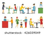 people in a flat interior.... | Shutterstock .eps vector #426039049
