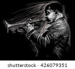 Jazz Trumpet Player  Black And...