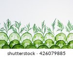 cucumber slices. green dill.... | Shutterstock . vector #426079885