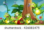 Five Frogs And Dragonflies In...