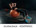 beautiful slim brunette doing... | Shutterstock . vector #426096061
