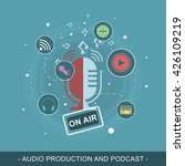 audio production and podcast... | Shutterstock .eps vector #426109219