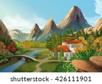 house in the mountains  nature... | Shutterstock .eps vector #426111901