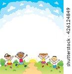 kids happy jumping certificate...   Shutterstock . vector #426124849