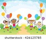 children are jumping  ob ... | Shutterstock . vector #426125785