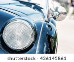 Shiny Blue Vintage Car. Detail...