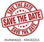 save the date red grunge round...