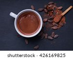 hot chocolate in a cup on the... | Shutterstock . vector #426169825