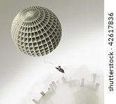 businessman flight on balloon - stock photo