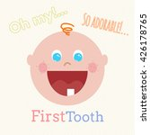 Cute Baby First Tooth Vector...
