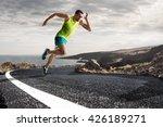 male runner sprinting during...   Shutterstock . vector #426189271
