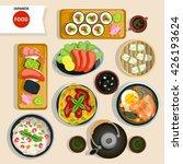 japanese food top view set... | Shutterstock .eps vector #426193624