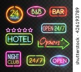 neon open sign icon set with...