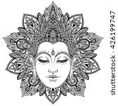 Buddha Face Over Ornate Mandal...