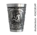 Small photo of Pewter cup with a bas-relief of an Water Bearer zodiac isolated on white background