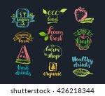 hand drawn farm fresh logo set. ... | Shutterstock .eps vector #426218344