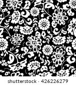 black and white floral pattern | Shutterstock .eps vector #426226279