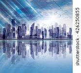 modern night city skyline at... | Shutterstock . vector #426250855