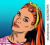 pop art woman   on a polka dots ... | Shutterstock .eps vector #426258295