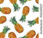 watercolor pineapple seamless... | Shutterstock . vector #426265027