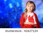 christmas girl in festive... | Shutterstock . vector #42627124