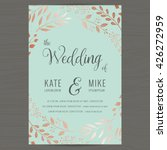 Save the date, wedding invitation card template with copper color flower floral background. Vector illustration. | Shutterstock vector #426272959