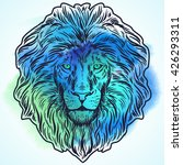 hand drawn lion head isolated.... | Shutterstock .eps vector #426293311