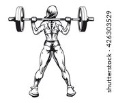 bodybuilder woman squatting... | Shutterstock .eps vector #426303529